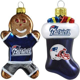 NFL New England Patriots Blown Glass Gingerbread Man & Stocking Ornament 2 Pack : Sports Fan Hanging Ornaments : Sports & Outdoors