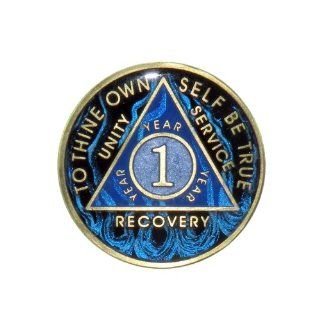 1 Year Premium Enamel AA (Alcoholics Anonymous)   Sober / Sobriety / Birthday / Anniversary / Recovery / Medallion / Coin / Chip   Blue Flame : Other Products : Everything Else