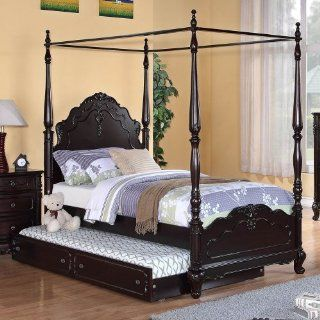 Homelegance Cinderella Canopy Poster Bed In Cherry   Twin With Trundle   Prints