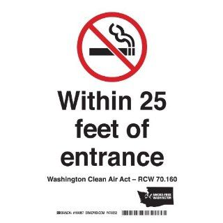 "Brady 104991 Plastic Washington State No Smoking Sign, 7"" X 5"", Legend ""(No Smoking Picto) Within 25 Feet Of Entrance   Washington Clean Indoor Air Act   Rcw 70.160"" Industrial Warning Signs Industrial & Scientific"