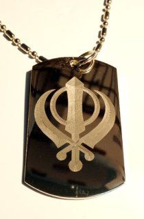 Sihk Sihkism Waya Guru Khanda Khalsa Sword Religious Symbol   Military Dog Tag, Luggage Tag Key Chain Metal Chain Necklace: Pet Supplies
