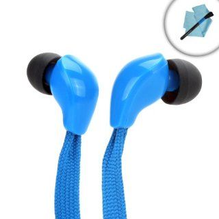 In Ear Headphones with Blue Shoe Lace Cord Design and Interchangeable Noise Isolating Silicone Earbud Gels for the Motorola Droid RAZR HD , LG Optimus Pro , Nokia Lumia 1020 & 928 , BlackBerry Z10 & Many More Smartphones   Includes Cleaning Kit El