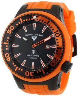 Swiss Legend Men's 11818A BB 01 OBS W Neptune Automatic Black Dial Orange Silicone Watch at  Men's Watch store.