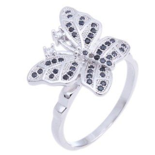 925 Sterling Silver Round Butterfly Black White Cubic Cz Zirconia Women Fashion Charm Ring Kitchen & Dining