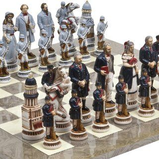 "American Civil War Luxury Chessmen from Italy & Greenwich Street Chess Board. Giant Size King 5 5/8"" Toys & Games"