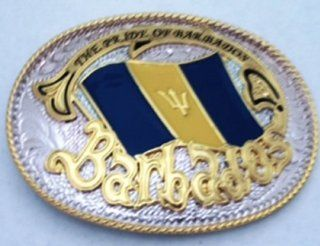 Nation Country Flag West Indies Barbados Caribbean Island Gold and Silver Toned Belt Buckle.  Other Products