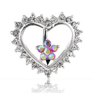 "Navel Belly Button Ring with Top Down CZ Heart and Flower   14GA 3/8"" Long: West Coast Jewelry: Jewelry"