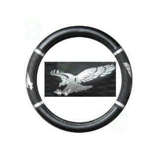 Comfort Grip Steering Wheel Cover   American Eagle Spread Wings Silver: Automotive