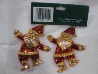 """Flat Metallic Gold Tone Acrylic Dancing Santa Claus With Shiney Red & Green Accents Pendent Ornaments (Set Of Two). A Classy & Tasteful """"Crystal Like"""" Addition To Your Christmas Tree Decorations. Numerous Additional Coordinating Styles, C"""