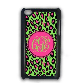 Lime green and hot pink animal print   monogrammed iPod case, iPod Touch 4g cover, iTouch case: Cell Phones & Accessories