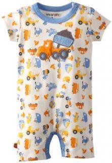 Mini Bamba Apparel Baby Boys Newborn Printed Shortall With Dump Truck, Cream, 6 Months Clothing