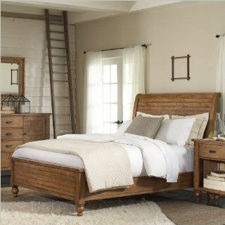 Riverside Furniture Summerhill Sleigh Bed in Canby Rustic Pine   Home & Kitchen