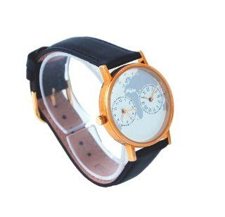 Sweda Unisex Black Leather Band Dual Time Analog Watch at  Men's Watch store.