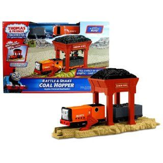 "Fisher Price Year 2011 Thomas and Friends Trackmaster ""Engine Powered Destination"" Series Motorized Railway Battery Powered Tank Engine Train Set   RATTLE and SHAKE COAL HOPPER with Rusty Engine, Wagon Car with Coal and Coal Hopper: Toys & Ga"