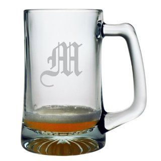 Set of 4 Monogrammed 15oz Beer Mugs w/ Olde English Lettering: Kitchen & Dining