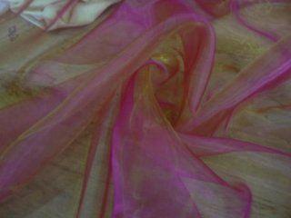 Two Tone PINK shot GOLD ORGANZA wedding sashes Fabric   Prestige Fashion UK Ltd