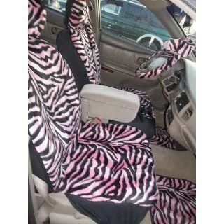 11pc Safari Pink Zebra Print Car Floor Mats, Low Back Seat Covers, Steering Wheel Cover & Shoulder Pad Set Automotive