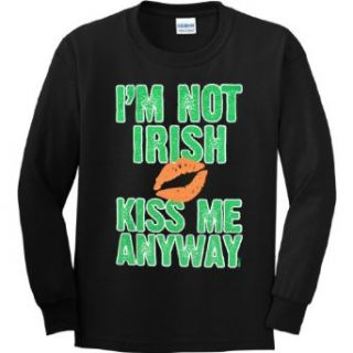 YOUTH LONG SLEEVE T SHIRT  BLACK   SMALL   Im Not Irish Kiss Me Anyway   St Patricks Day Clothing
