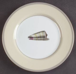 Fitz & Floyd Coquillier Salad Plate, Fine China Dinnerware   Tan Rim,Gray Band,S