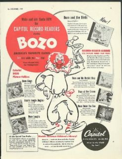 Write Santa & Ask for Bozo the Clown Capitol Records Christmas ad 1949: Entertainment Collectibles