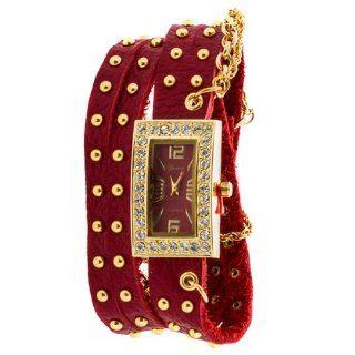 Geneva Platinum Women's Studded Wrap around Watch RED/GOLD Watches