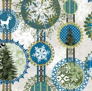 In the Beginning 'Wintergraphix' Shperical Stripe Christmas on Blue Cotton Fabric By the Yard