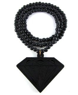 Large Wooden Diamond Supply Co. BBC Pendant Bead Chain Necklace ALL GOOD WOOD STYLE! black: Jewelry