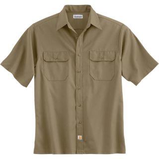 Carhartt Short Sleeve Twill Work Shirt   Khaki, Medium, Regular Style, Model