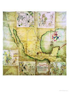 Map of the Route Followed by Hernando Cortes During the Conquest of Mexico Giclee Print Art (9 x 12 in) : Everything Else