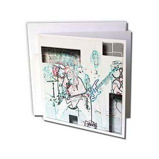 gc_44069_1 Jos Fauxtographee Realistic   Two Men From Rock Band Playing Guitar and Singing Done in a Pastel Colored Pencil With Edge   Greeting Cards 6 Greeting Cards with envelopes  Blank Greeting Cards