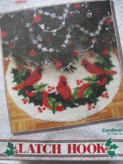 WonderArt Latch Hook Kit Cardinals Christmas Tree Skirt 33 Inch Model No. 4591