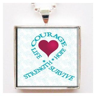Strength Hope Courage Live Survive Teal Ovarian Cancer Ribbon Glass Tile Pendant Necklace with Chain: Jewelry