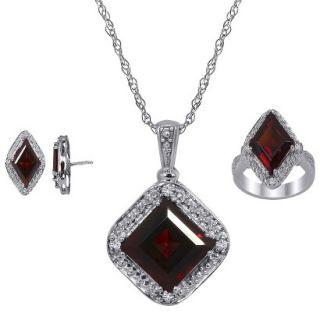 3.30 CT.T.W. Princess Cut Garnet & .10 CT.T.W. Diamond Round Cut Jewelry Set in