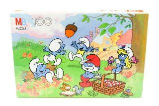 Smurf Puzzle Featuring a Scene with the Smurfs Having a Fun Picnic (100 Puzzle Pieces) Dated 1988: Everything Else