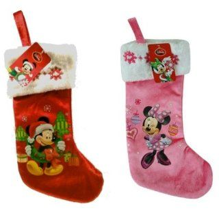 """Disney Mickey & Minnie Mouse 16"""" Velour Stocking with Embroidery on Cuff   Christmas Stockings"""