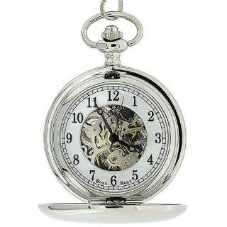 Boxx Mens Silver Tone Skeleton Mechanical Pocket Watch 12 Chain Boxx244 at  Men's Watch store.