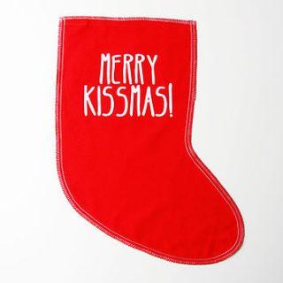 merry kissmas christmas stocking by tee and toast