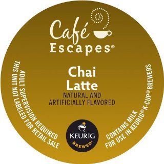 Keurig, Caf&#233 Escapes, Chai Latte, K Cup packs, 0.4 Ounce, 50 Count  Coffee Substitutes  Grocery & Gourmet Food