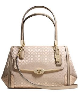COACH MADISON SMALL MADELINE EAST/WEST SATCHEL IN OP ART PEARLESCENT FABRIC   COACH   Handbags & Accessories