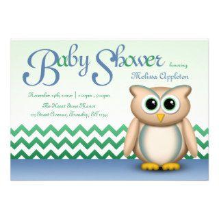 Cute Owl   Blue & Green Chevron Baby Shower Custom Invitation