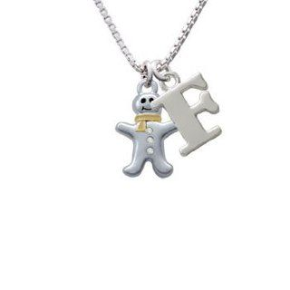 Silver Gingerbread Man with Gold Scarf and Clear Crystal Buttons Initial F Charm Necklace: Delight Jewelry: Jewelry