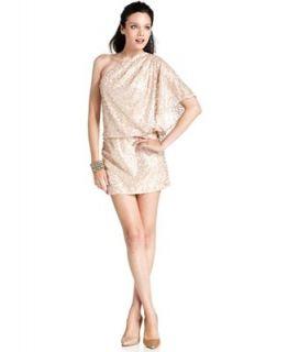 Jessica Simpson Dress, Short Sleeve One Shoulder Sequin Blouson   Dresses   Women