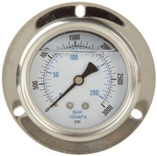 PIC Gauge Glycerin Filled Industrial Front Flanged Panel Mount Pressure Gauge with Stainless Steel Case: Industrial & Scientific