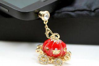 Cinderella's Magical Rhinestone Studded Red Pumpkin Carriage Cell Phone Charm Dust Plug
