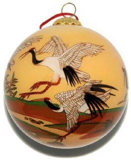Hand Painted Glass Ornament, Cranes at Play CO 182   Decorative Hanging Ornaments