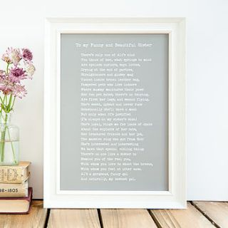 bespoke framed sister poem print by bespoke verse