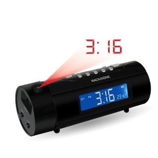 Magnasonic MAG MM178K AM/FM Projection Clock Radio with Dual Alarm, Auto Time Set/Restore, Motion Activated Snooze, Temperature Display and Battery Backup: Electronics