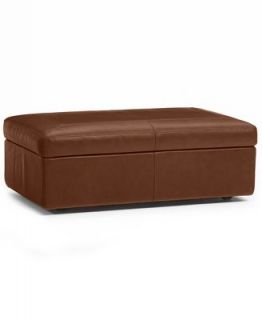 Ricardo Leather Ottoman, Storage 47W x 30D x 17H   Furniture