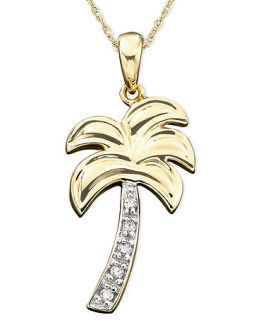 Diamond Necklace, 14k Gold Diamond Accent Palm Tree Charm Pendant   Necklaces   Jewelry & Watches