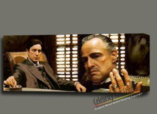 """GODFATHER THE CORLEONE FAMILY ORIGINAL PAINTING CANVAS MOUNTED W GALLERY WRAP STYLE READY TO HANG 34X14X1.5""""  Mixed Media Paintings"""